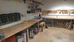 Holzwerkstatt in aufgeräumt
